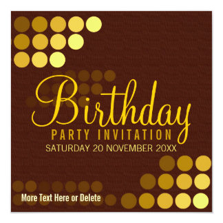 Funky Groove Gold Disco Party Birthday Invitation