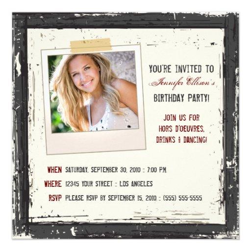 Funky Grunge Birthday Party Invitation (black)