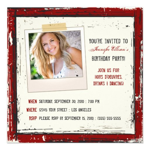 Funky Grunge Birthday Party Invitation (cranberry)