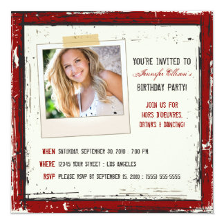 "Funky Grunge Birthday Party Invitation (cranberry) 5.25"" Square Invitation Card"