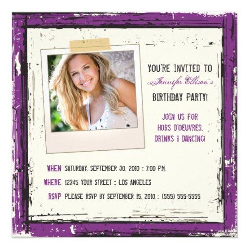 Funky Grunge Birthday Party Invitation (lavender)