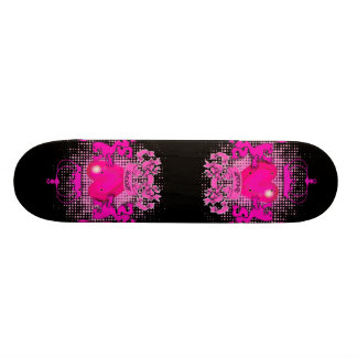 Funky Grunge Tattoo Heart hot pink crown Skateboard