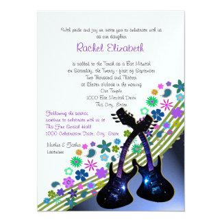 Funky Guitar Music Bat Mitzvah 5.5x7.5 Paper Invitation Card
