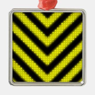 Funky Hazard Stripes Design Metal Ornament