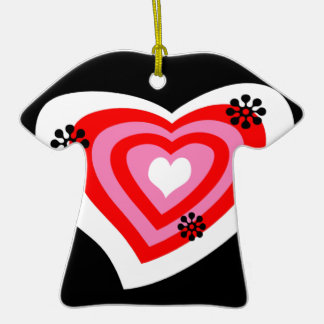 Funky Heart Double-Sided T-Shirt Ceramic Christmas Ornament