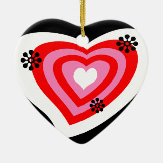 Funky Heart Double-Sided Heart Ceramic Christmas Ornament