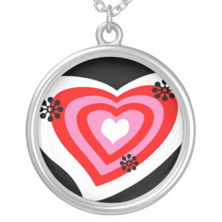 Funky Heart Round Pendant Necklace