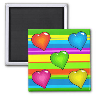 Funky Hearts 2 Inch Square Magnet