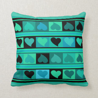 Funky Hearts and Squares | aqua teal turquoise Pillow