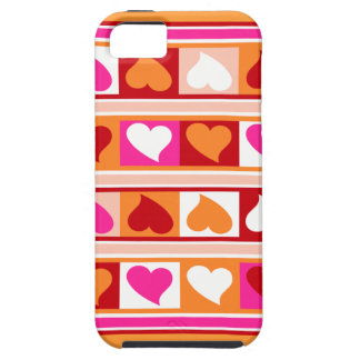 Funky Hearts and Squares | fuschia orange red iPhone 5 Covers