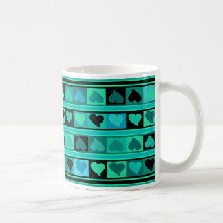 Funky Hearts and Squares Mozaic | aqua turquoise Coffee Mug