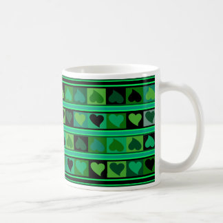 Funky Hearts and Squares Mozaic | emerald mint blk Classic White Coffee Mug