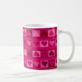 Funky Hearts and Squares Mozaic | fuschia pink Classic White Coffee Mug