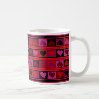 Funky Hearts and Squares Mozaic | red burgundy Classic White Coffee Mug