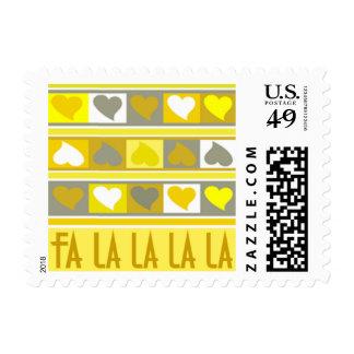 Funky Hearts Fa la la la la   yellow grey Postage