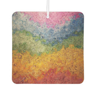 Funky Hippie Rainbow Stripes Pattern with Texture Car Air Freshener