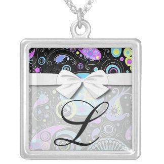 funky hippie retro abstract design square pendant necklace