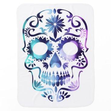 Halloween Themed Funky Hippie Sugar skull design Baby Blanket