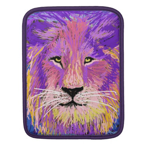 Funky hipster cool lion pop art portrait iPad sleeve
