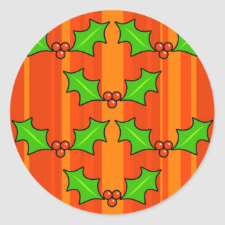Funky Holly Classic Round Sticker