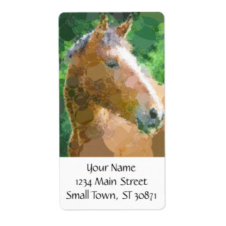 Funky Horse Circles Bubbles Modern Art Shipping Label