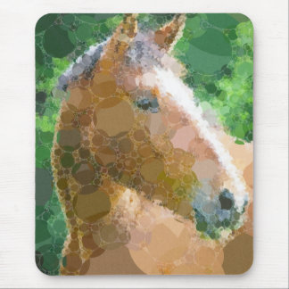 Funky Horse Circles Bubbles Modern Art Mouse Pad