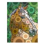 Funky Horse Circles Bubbles Modern Art Post Card