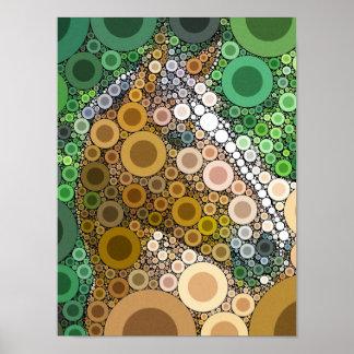 Funky Horse Circles Bubbles Modern Art Poster