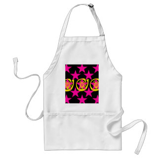 Funky Hot Pink and Black Stars Swirls Pattern Adult Apron
