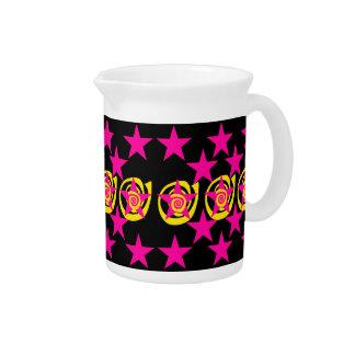 Funky Hot Pink and Black Stars Swirls Pattern Drink Pitcher