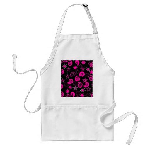 Funky Hot Pink Black Stars Swirls Fun Pattern Gift Apron