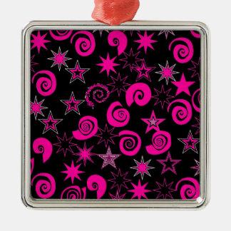 Funky Hot Pink Black Stars Swirls Fun Pattern Gift Metal Ornament