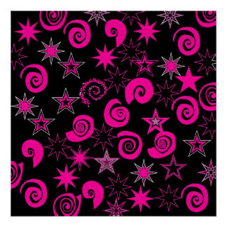 Funky Hot Pink Black Stars Swirls Fun Pattern Gift Poster