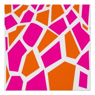Funky Hot Pink Orange Giraffe Print Girly Pattern