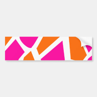 Funky Hot Pink Orange Giraffe Print Girly Pattern Bumper Sticker