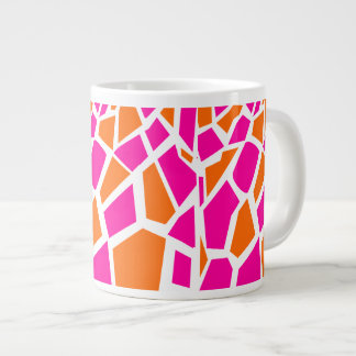 Funky Hot Pink Orange Giraffe Print Girly Pattern Large Coffee Mug