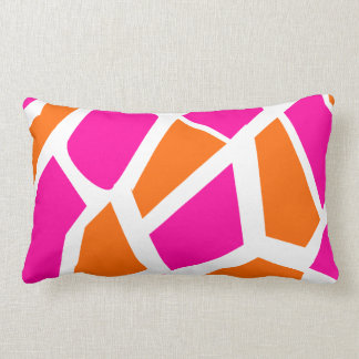 Funky Hot Pink Orange Giraffe Print Girly Pattern Lumbar Pillow