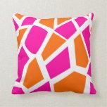 Funky Hot Pink Orange Giraffe Print Girly Pattern Pillows