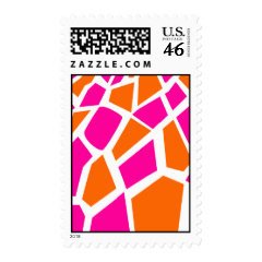 Funky Hot Pink Orange Giraffe Print Girly Pattern Postage