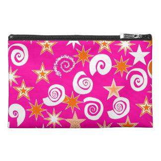 Funky Hot Pink Orange Stars Swirls Fun Pattern Travel Accessory Bags