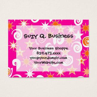 Funky Hot Pink Orange Stars Swirls Fun Pattern Business Card