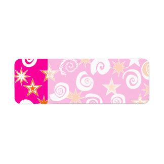 Funky Hot Pink Orange Stars Swirls Fun Pattern Label