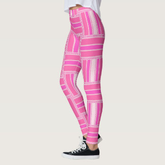 Funky Hot Pink Stripe Pattern Leggings ★Psydefx★