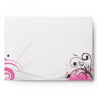 Funky Hot Pink Swirls Stars Bat Mitzvah Envelope envelope