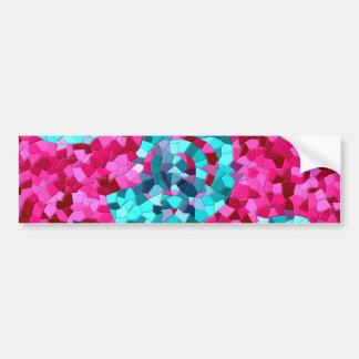 Funky Hot Pink Teal Blue Mosaic Swirls Girly Gifts Bumper Sticker