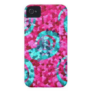Funky Hot Pink Teal Blue Mosaic Swirls Girly Gifts Case-Mate iPhone 4 Case