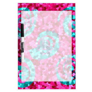 Funky Hot Pink Teal Blue Mosaic Swirls Girly Gifts Dry Erase Board