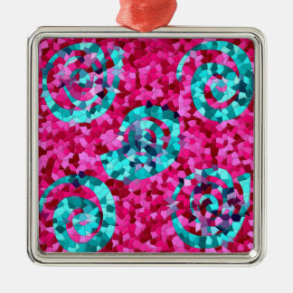 Funky Hot Pink Teal Blue Mosaic Swirls Girly Gifts Metal Ornament