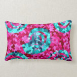 Funky Hot Pink Teal Blue Mosaic Swirls Girly Gifts Throw Pillow