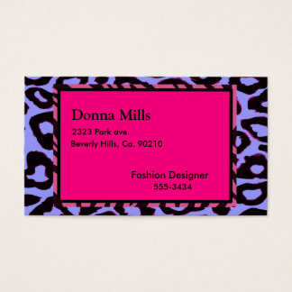 Funky Hot Pink Zebra Cheetah Business Card